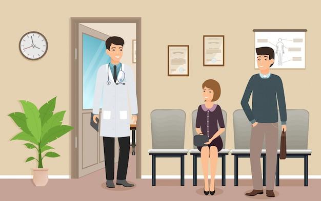 Mannelijke arts in uniform ontmoet de geduldige karakters in medische kliniek. vrouw en man patiënten dichtbij een spreekkamer.