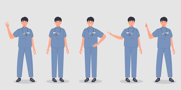 Mannelijke arts in verschillende pose groep medische professionele werknemers in sanitair uniform