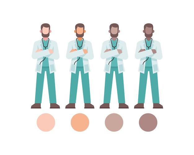 Mannelijke arts karakter met verschillende huidskleur