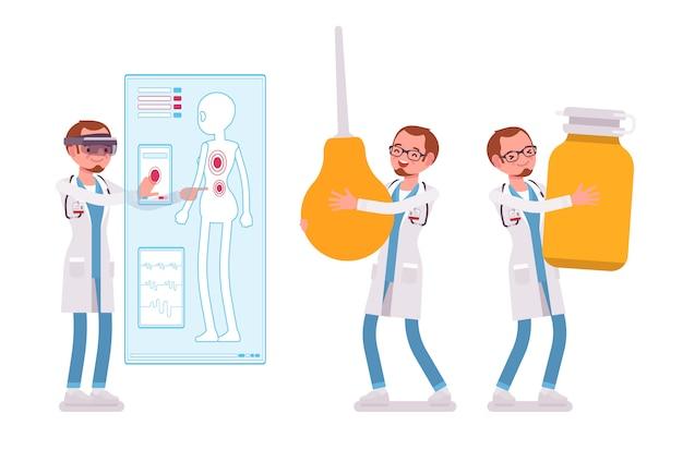 Mannelijke arts. man in ziekenhuis uniform met gigantische spuit, pillen, vr diagnostiek doen. geneeskunde en gezondheidszorg concept. stijl cartoon illustratie op witte achtergrond