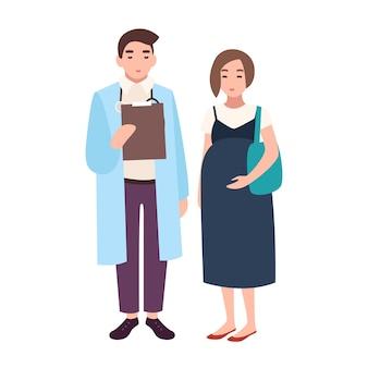 Mannelijke arts, medisch adviseur, verloskundige of gynaecoloog en zwangere vrouw of vrouwelijke patiënt. bezoek aan kliniek of ziekenhuis, ontmoeting met arts. vectorillustratie in platte cartoonstijl.