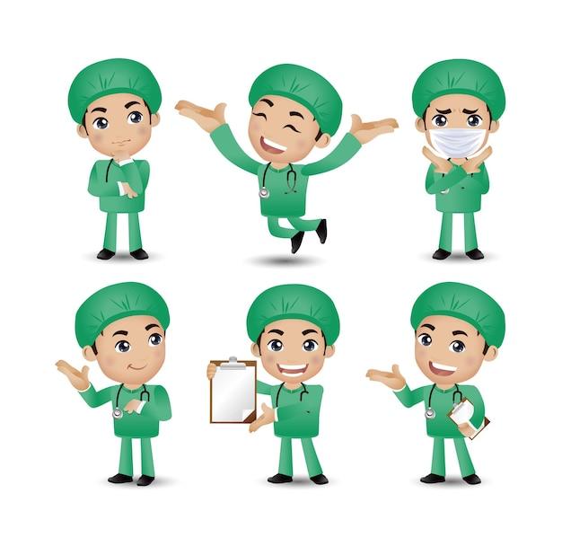 Mannelijke arts met verschillende poses