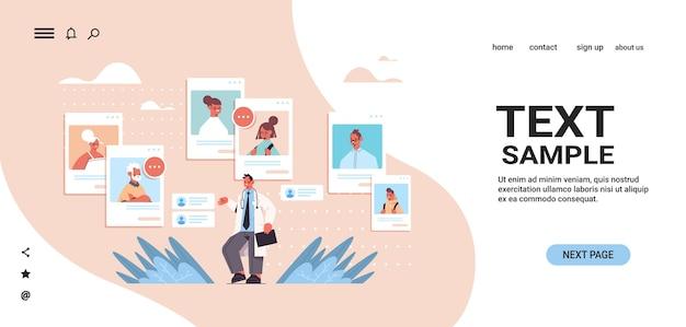 Mannelijke arts raadplegen familiepatiënten in web browservensters online medische raadpleging gezondheidszorg geneeskunde kopie ruimte