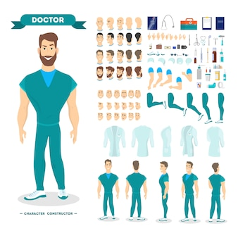 Mannelijke arts tekenset voor de animatie met verschillende weergaven, kapsel, emotie, pose en gebaar.