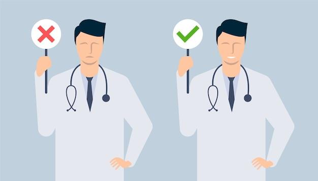 Mannelijke arts vertoont tekenen van toegestaan en verboden. sjabloon voor de presentatie van een gezonde levensstijl. illustratie