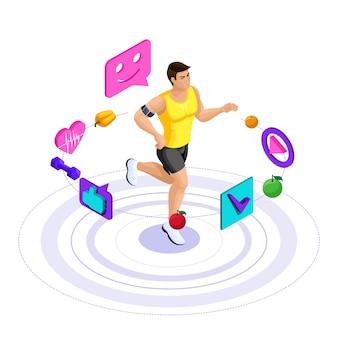 Mannelijke atleet, mooi sportlichaam, treinen, hardlopen, gezonde levensstijl. gezonde voeding, caloriearm dieet