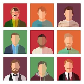 Mannelijke avatars in verschillende stijlkleren
