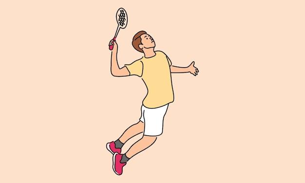 Mannelijke badminton-speler geïsoleerd op beige