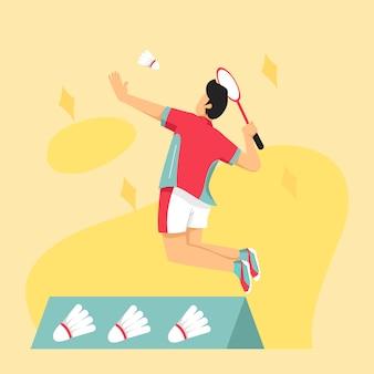 Mannelijke badmintonspeler springen smash shot