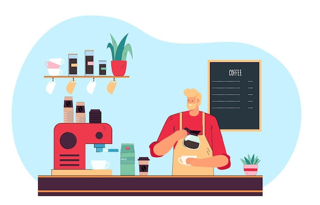 Mannelijke barista die espresso maakt bij koffiestation. gelukkig man met schort, koffie gieten in mok vlakke afbeelding