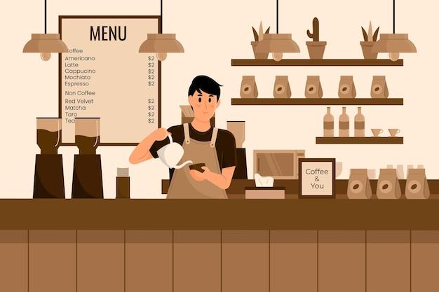 Mannelijke barista die koffie maakt vectorillustratie