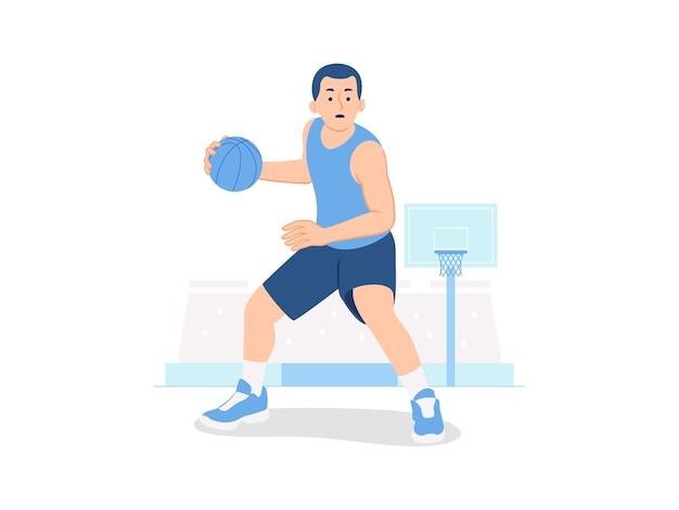 Mannelijke basketbalspeler balbehandeling controle van de bal op basketbalveld concept illustratie