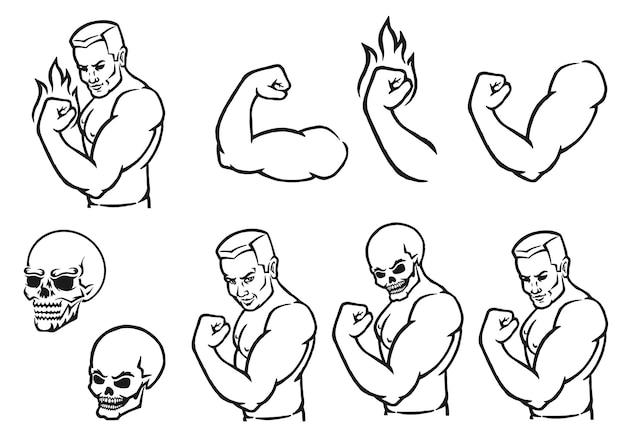 Mannelijke bodybuilder die zijn biceps buigt overzicht silhouet