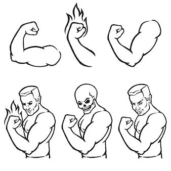 Mannelijke bodybuilder die zijn biceps buigt