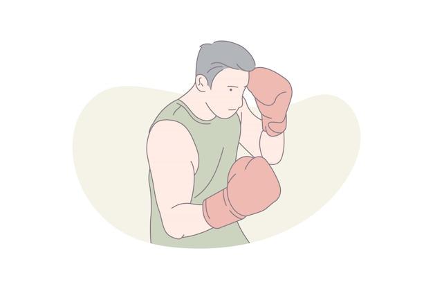 Mannelijke bokser boksen.