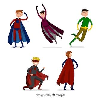 Mannelijke cartoon superheld-collectie