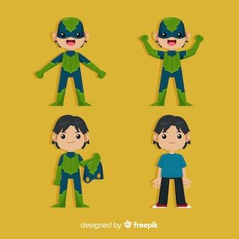 Mannelijke cartoon superheld ingesteld