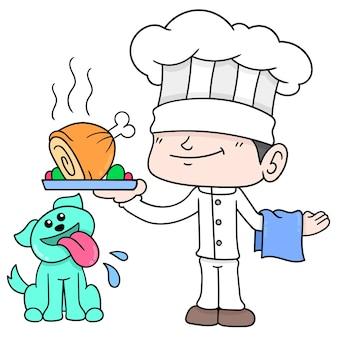 Mannelijke chef-kok met zijn huiskat die een groot deel van gebraden kip dient, vectorillustratieart. doodle pictogram afbeelding kawaii.