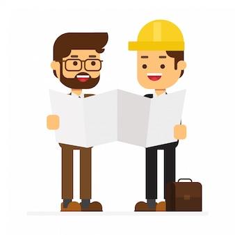 Mannelijke civiel-ingenieurstekens die bouwdocumentatie bestuderen