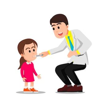 Mannelijke dokter controleert de temperatuur van een meisje