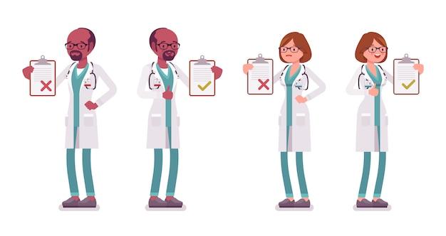 Mannelijke en vrouwelijke arts met klembord