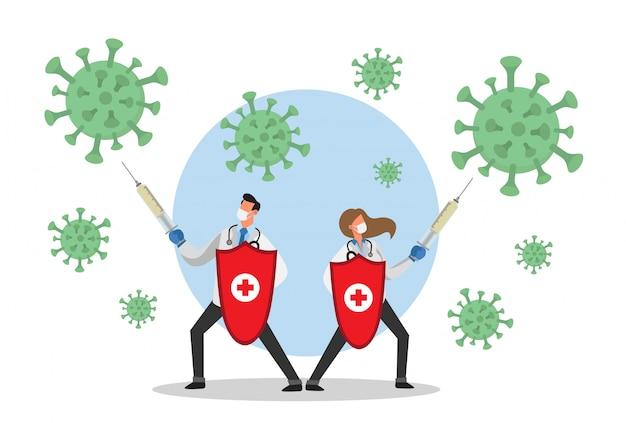 Mannelijke en vrouwelijke arts vechten met spuiten tegen coronavirus