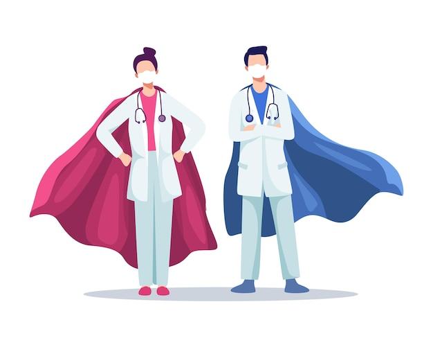 Mannelijke en vrouwelijke artsen die maskers dragen met superheldenmantels, echte helden, uitbraak van het coronavirus. ziekenhuismedisch personeel met maskers en stethoscoop.