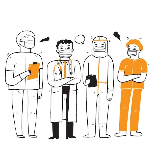 Mannelijke en vrouwelijke artsen met maskers tegen virussen