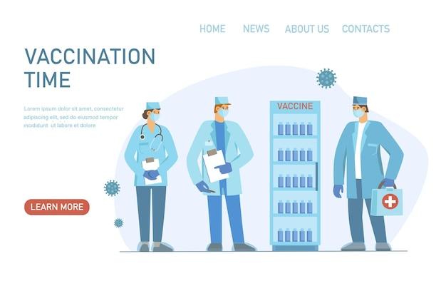 Mannelijke en vrouwelijke artsen met vaccins koelkast 2019ncov vaccin geneeskunde vaccinatie concept