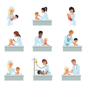 Mannelijke en vrouwelijke artsencontrole voor baby's illustraties op een witte achtergrond