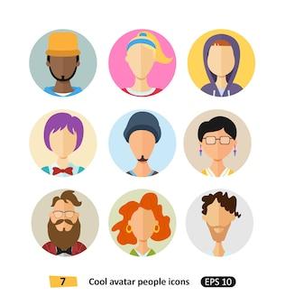 Mannelijke en vrouwelijke avatars pictogrammen plat coole moderne stijl vector set