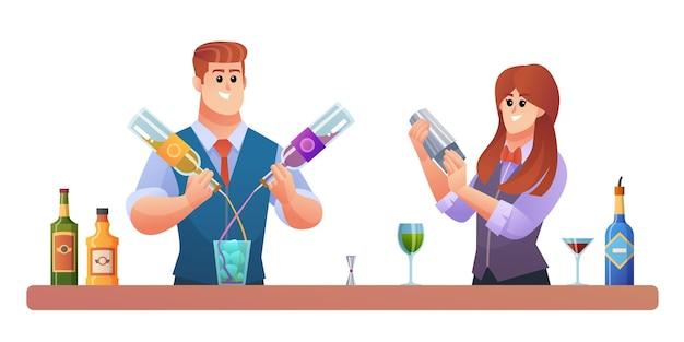 Mannelijke en vrouwelijke barmankarakters die de illustratie van het drankenconcept mengen