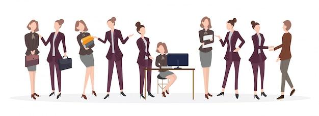 Mannelijke en vrouwelijke beambten Premium Vector
