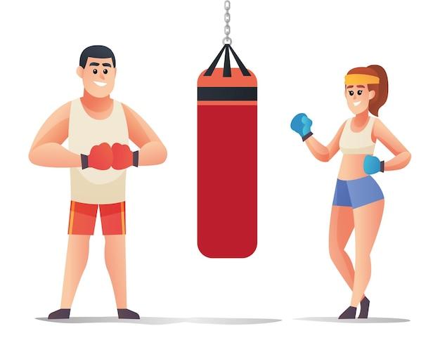 Mannelijke en vrouwelijke bokspersonages