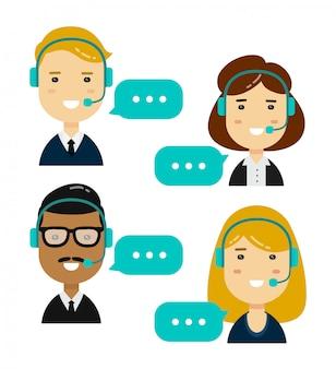 Mannelijke en vrouwelijke call center avatars. geïsoleerd. vector moderne stijl platte stripfiguur