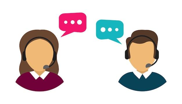 Mannelijke en vrouwelijke callcenteravatars. klantenservice.