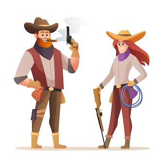 Mannelijke en vrouwelijke cowboypersonages