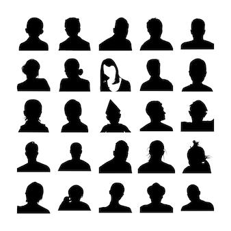 Mannelijke en vrouwelijke gezichten pictogrammen