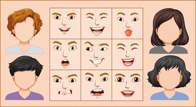 Mannelijke en vrouwelijke gezichtsuitdrukking
