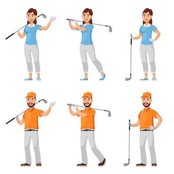 Mannelijke en vrouwelijke golfers in verschillende poses. man en vrouw in cartoon-stijl.