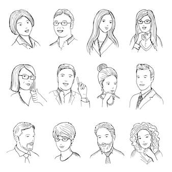 Mannelijke en vrouwelijke hand getrokken illustraties voor pictogrammen of webavatars. verschillende zakelijke gezichten met humor