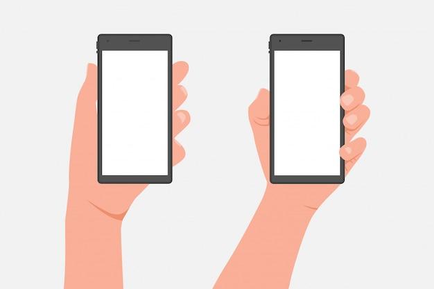 Mannelijke en vrouwelijke hand met mobiele telefoon