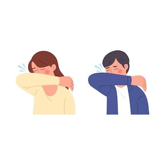 Mannelijke en vrouwelijke illustratiekarakters bij het niezen proberen hun mond te bedekken met hun armen