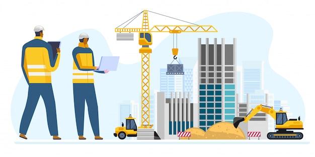 Mannelijke en vrouwelijke ingenieurs op de bouwplaats