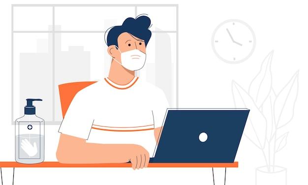 Mannelijke en vrouwelijke kantoormedewerkers die een gezichtsmasker dragen en afstanden houden tussen hun werkplekken.