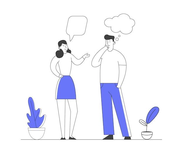 Mannelijke en vrouwelijke karakters communicatie met dialoog tekstballonnen.
