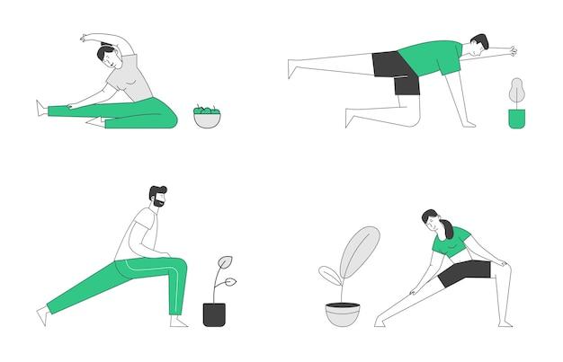 Mannelijke en vrouwelijke karakters sportactiviteiten set