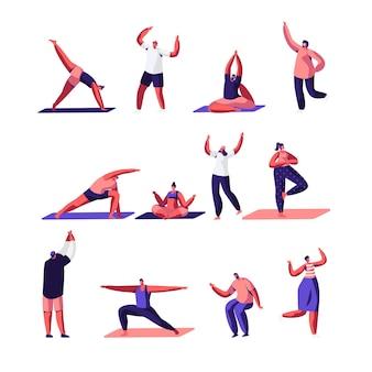 Mannelijke en vrouwelijke karakters sportactiviteiten set.