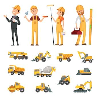 Mannelijke en vrouwelijke karakters van bouwers