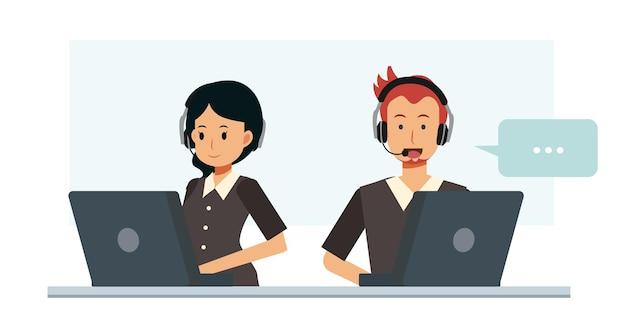 Mannelijke en vrouwelijke klantenservice en callcenter karakter platte cartoon vectorillustratie.